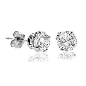 White Gold 1ct. Genuine Natural Round Diamonds Solitaire 14k Earrings