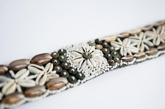 Free People Green handmade belt made with snails