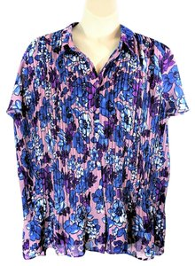 Only Necessities Floral Short Sleeves Button Down Shirt Multi-Colored