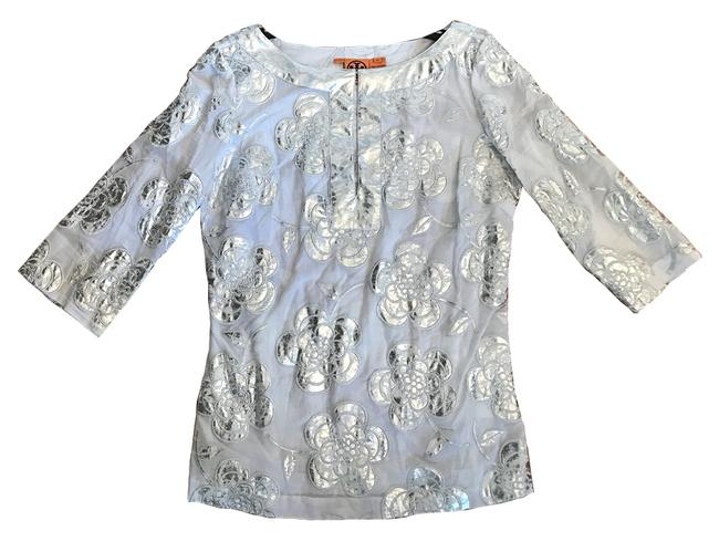 Preload https://item3.tradesy.com/images/tory-burch-embroidered-white-antique-silver-trim-slim-fitted-cotton-tunic-size-12-l-21568067-0-0.jpg?width=400&height=650