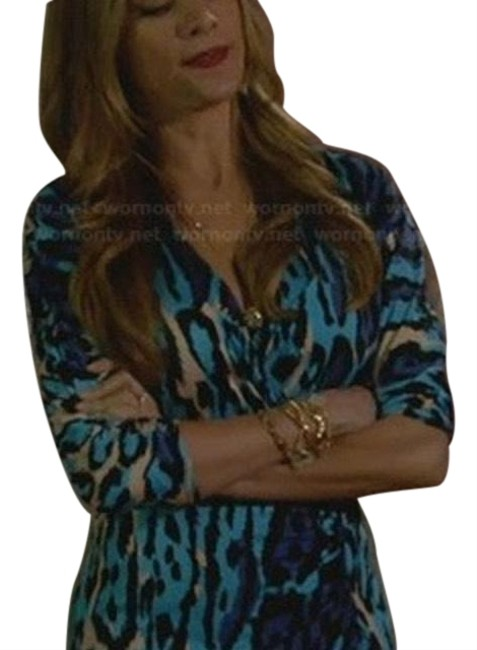Item - Blue and White Blumarine Leopard Print Mid-length Work/Office Dress Size OS