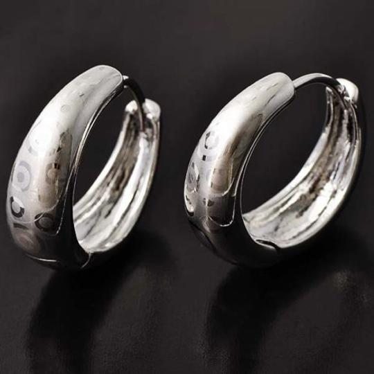 Silver Etched White Gold Filled Hoop Free Shipping Earrings