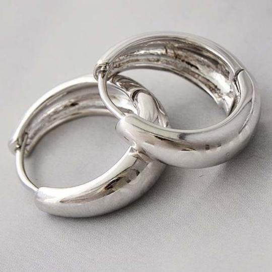Silver Etched White Gold Hoop Free Shipping Earrings