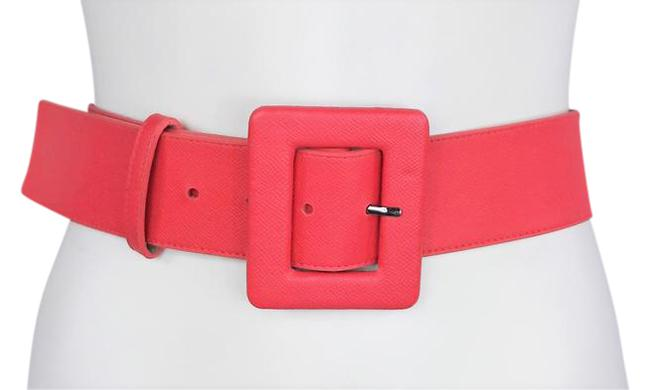Item - Pink W Embossed Leather Elasticized Waist W/Square Buckle Belt