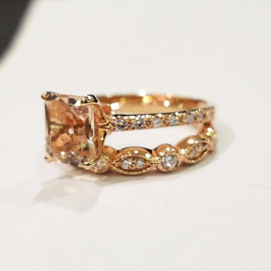Sterblingg morganite diamond wedding set