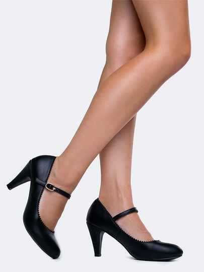 J. Adams Low Heel Round Pumps Strappy Black PU Sandals