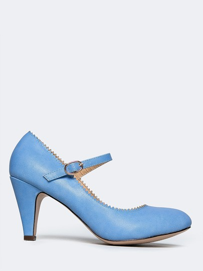 J. Adams Low Heel Round Pumps Strappy Blue Sandals