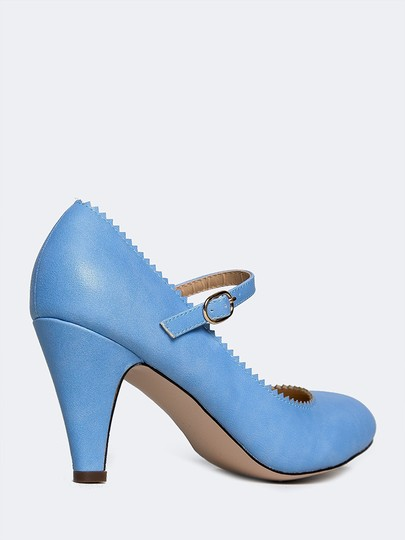 J. Adams Low Heel Round Pump Strappy Blue Sandals