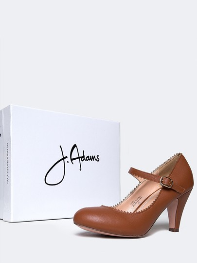 J. Adams Low Heel Round Toe Sandals Strappy Tan PU Pumps