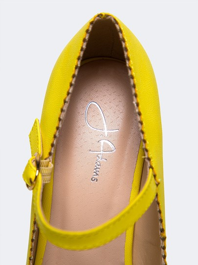 J. Adams Low Heel Round Toe Pump Strappy Lemon PU Sandals