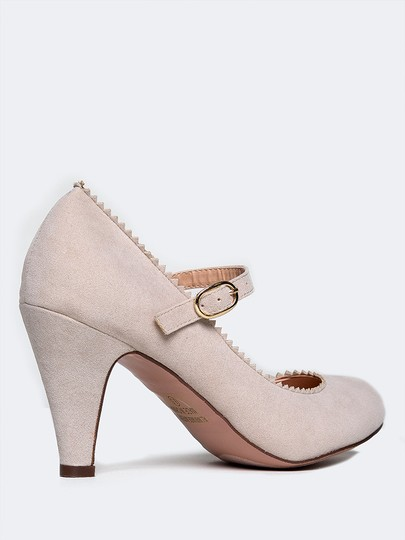 J. Adams Low Heel Round Pump Strappy Nude Suede Sandals