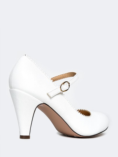 J. Adams Low Heel Round Pump Strappy White PU Sandals