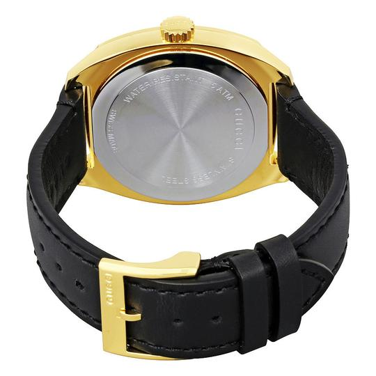 Gucci Gucci Black Dial Leather Strap Yellow Gold tone Men's Swiss Watch