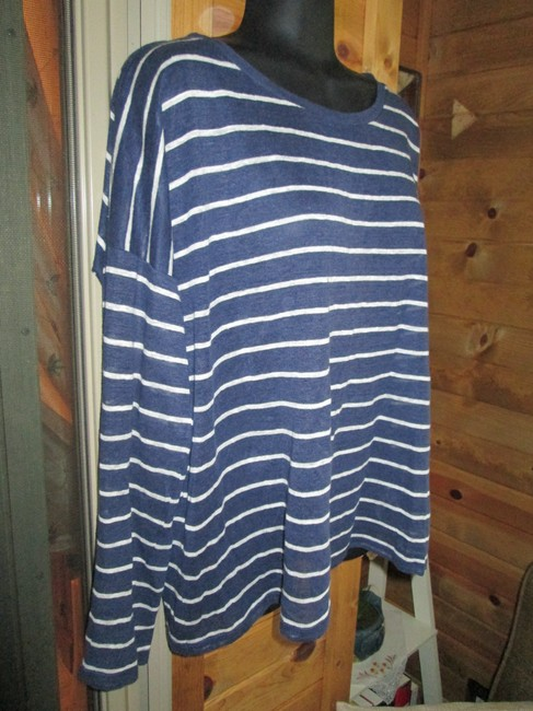Anthropologie Linen Nautical Striped Oversize Swing Top Blue