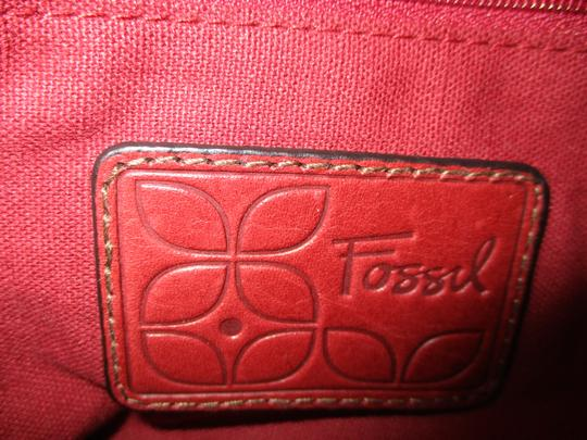 Fossil Leather Canvas Cross Body Bag