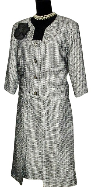 Chanel Chanel Tweed Jacket Skirt Suit 2014C Blk + Wht w/ Sequins 44/42