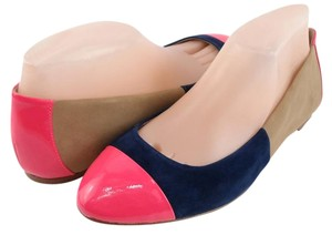 Ella Moss Suede Comfort Round Toe Patent Toe Pink, Blue, Tan Flats