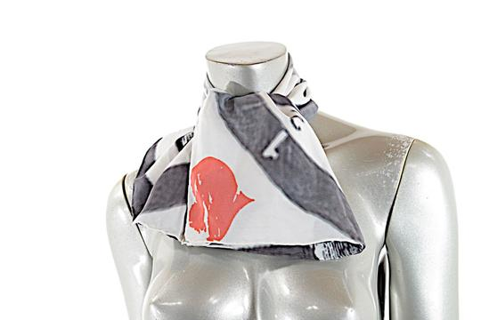 Delicious Fraks Delicious Freaks Charcoal/White Silk Scarf