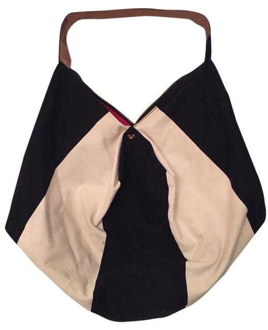 Item - Laragh Wide Striped Black White Red Canvas Hobo Bag
