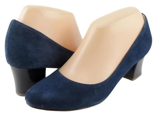 Cole Haan Suede Round Toe Patent Blue Pumps
