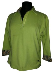 Burberry Checked 3/4 Sleeved T Shirt lime green