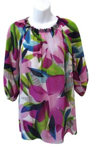 Generra 3/4 Sleeve Silk Cotton Tunic Top Purple