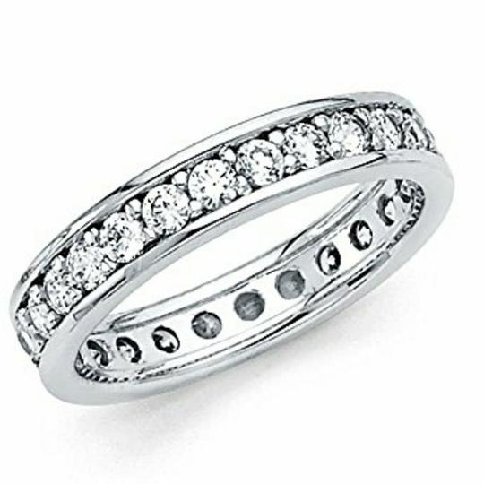 White Gold 14k Solid Eternity Size 6 Women's Wedding Band