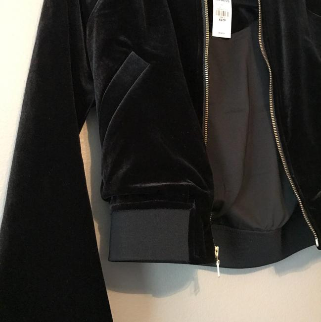 Express Velvet Velour Zip Up Jumpsuit black Jacket