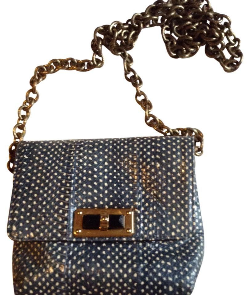 5727e5d594e6 Lanvin Happy Mini Pop Blue and Cream Python Skin Leather Cross Body ...