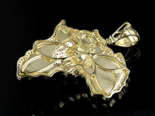 Other 10K Yellow Gold Genuine Diamond African Jungle King Lion Pendant 1 1/4