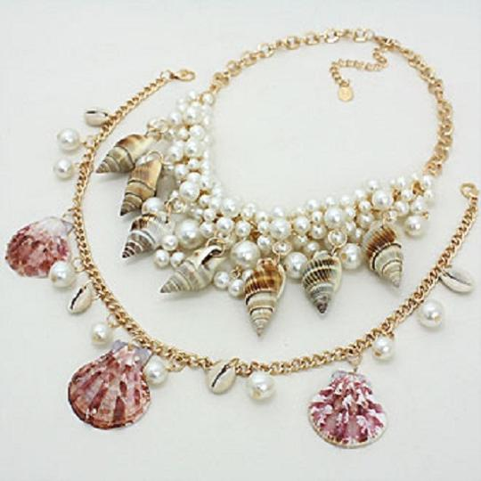 Luciano Dante Seaworld Sealife Seashell Pearl Clustered Double Necklace And Earring Image 1