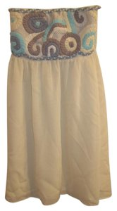 DejaVu short dress cream turquoise tan Summer Artsy Short Halter Sleeveless on Tradesy