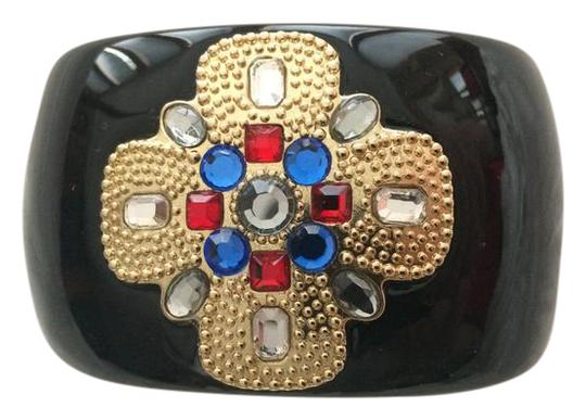 Preload https://img-static.tradesy.com/item/21569839/st-john-black-with-faux-gold-blue-red-and-clear-embellishments-hinged-cuff-goldgems-in-orig-box-brac-0-2-540-540.jpg