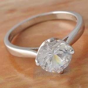 1ct Solitaire White Gold Filled Engagement Promise Ring Free Shipping