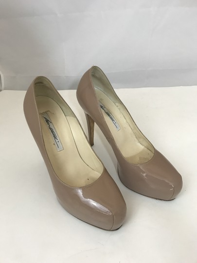 Brian Atwood Louboutin Chanel Patent Leather NUDE Platforms