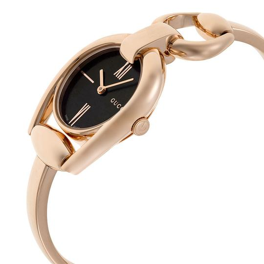 Gucci Gucci Horsebit Black Dial Rose Gold PVD Authentic Swiss Ladies Watch