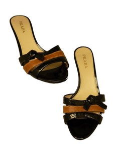 Prada Patent Leather Black Caramel Brown Sandals