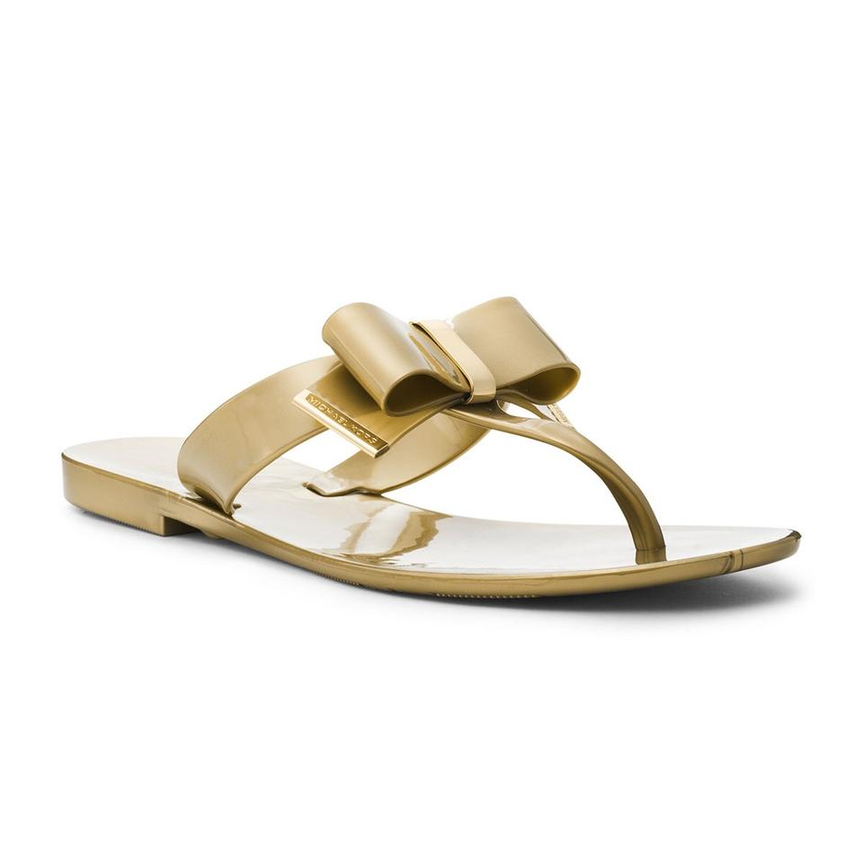 8e653a93f MICHAEL Michael Kors Gold   Champagne New Kayden Jelly Bow Sandals ...