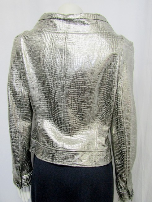St. John Embossed Leather Metallic Snake silver Jacket