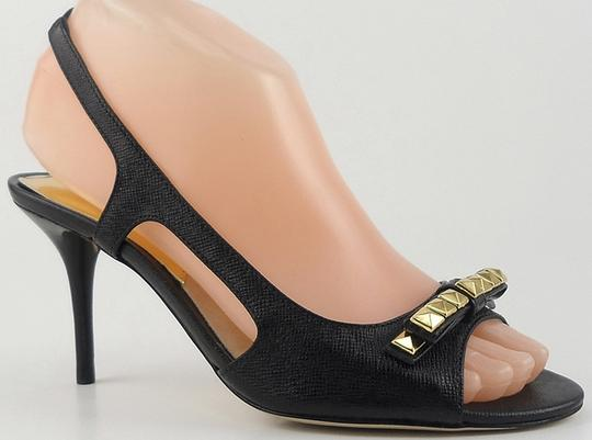 MICHAEL Michael Kors Slingback Leather Designer Black Sandals