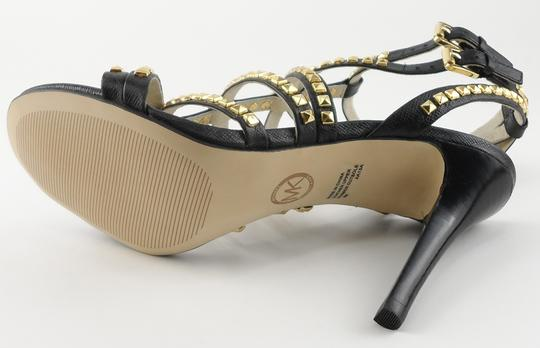 MICHAEL Michael Kors Leather Studded Strappy Black Sandals