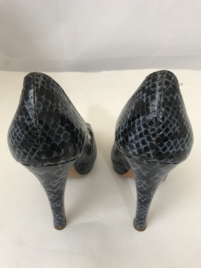 Luciano Padovan Snake Skin Embossed Peeptoe Louboutin Chanel BLUE/GRAY Pumps