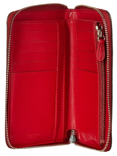 Coach Lacquer Rivets Medium Zip Around Leather 889532575183 53992 Red Currant Clutch