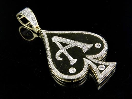 Other Men's 10K Yellow Gold Genuine Diamond Aces Spade Pendant Charm 1/2 Ct