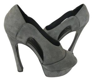 Saint Laurent Suede Ysl Tributes GRAY Pumps