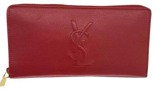 Preload https://item1.tradesy.com/images/saint-laurent-red-leather-with-zipper-around-wallet-21571100-0-1.jpg?width=440&height=440