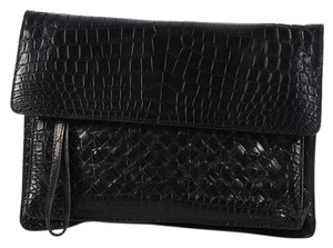 Bottega Veneta Bv.l0314.06 Noir Crocodile Foldover Envelope Black Clutch