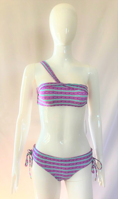 SHIMMI by Melissa Odabash NEW Swimsuit Lady Fashion S Small Top Bottom Shoulder Summer Two Piece Image 5