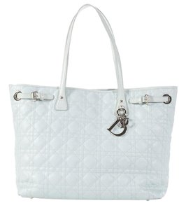 Dior Quilted Cd.l0314.04 Cannage Charm Silver Hardware Tote in Blue