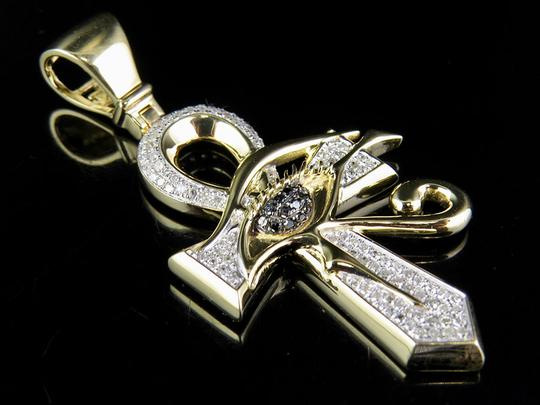 Other 10K Yellow Gold Genuine Diamond Black Eye of Horus Ankh Cross Pendant
